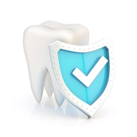Witte tand onder de blauwe schild met de teek overheen, geïsoleerde Stockfoto