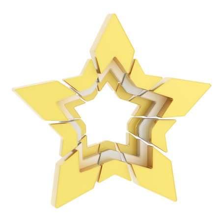 segmented: Abstract segmented white and golden star composition isolated