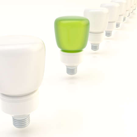 exception: Line of light bulbs over the white surface composition, with the one green bulb standing out