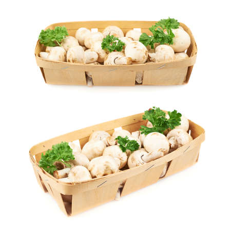 Champignon mushrooms and greens in a wooden box isolated  photo