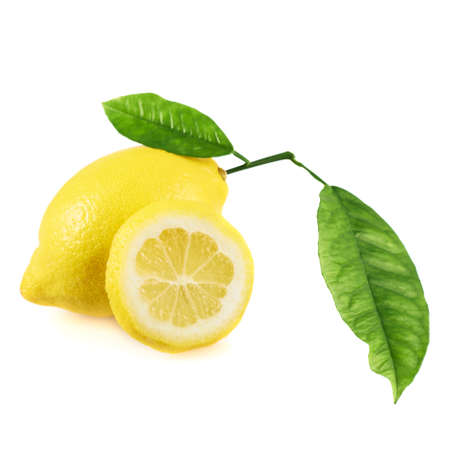 Fresh lemon fruit with the leaves and a round slice next to it, isolated over the white background