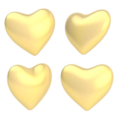 Glossy golden heart shape isolated over the white background, set of four foreshortenings photo