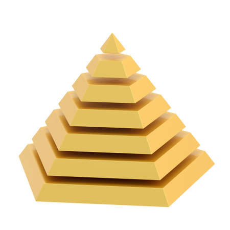 top seven: Golden pyramid divided into seven segment layers, isolated over the white background