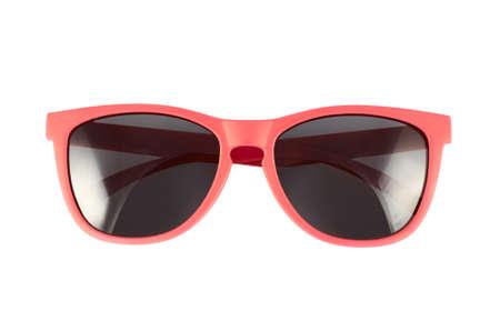 흰색 배경 위에 절연 붉은 태양 안경 스톡 콘텐츠