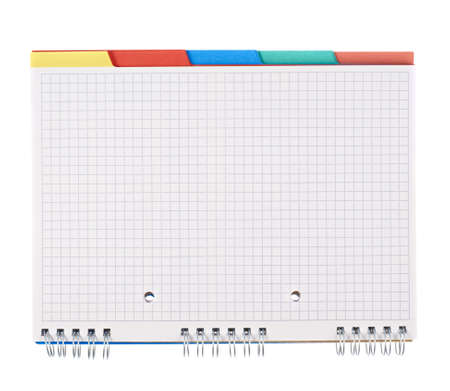 Squared notebook with the colored bookmarks, isolated over the white background photo