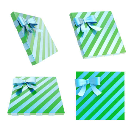 Wrapped green gift box with a blue metallic bow and ribbon isolated over white background, 3d render illustration, set of four foreshortenings illustration