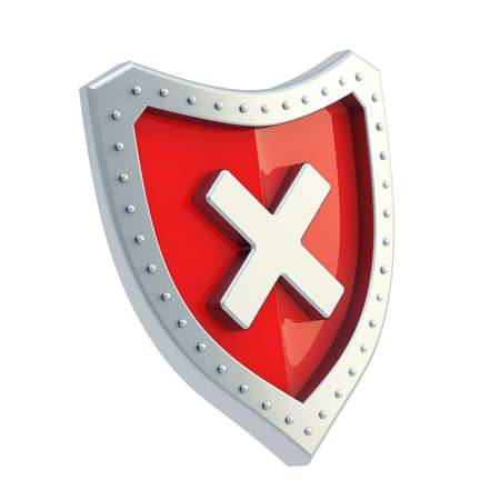 No x cross metal mark sign over a red shield surface isolated  photo