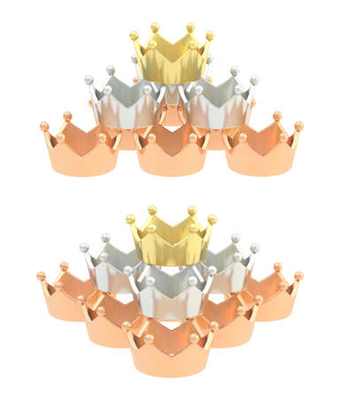 Pyramid pile of golden, silver, bronze crowns isolated over white background, set of two foreshortenings photo