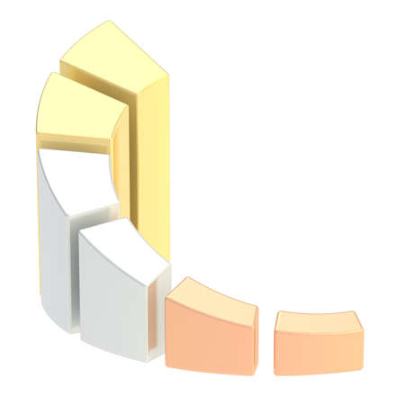 Growing bar chart graph divided into three bronze, silver and golden sections, isolated over the white background photo