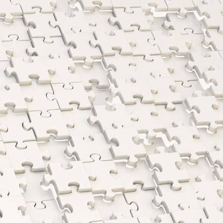 Surface chaotically covered with the white puzzle pieces as a background composition photo