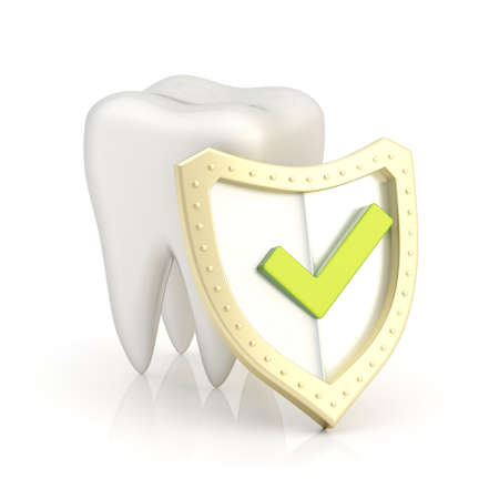 it is isolated: White tooth covered by the shield with the green tick over it, isolated over the white background