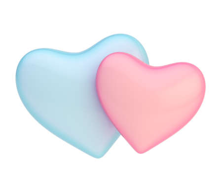 Two, pink and blue hearts composition isolated over the white background photo