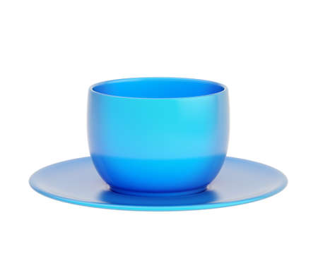 foreshortening: Ceramic blue cup and plate set, side view foreshortening, isolated