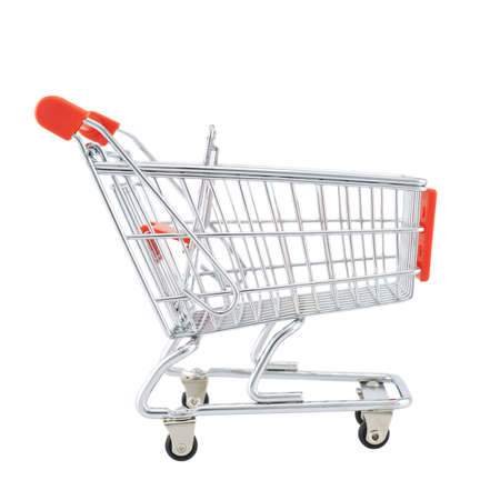 Small shopping cart isolated over the white background photo