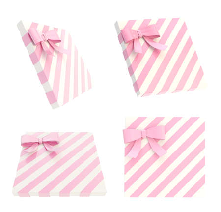 Wrapped white gift box with a pink bow and ribbon isolated over white background, 3d render illustration, set of four foreshortenings illustration