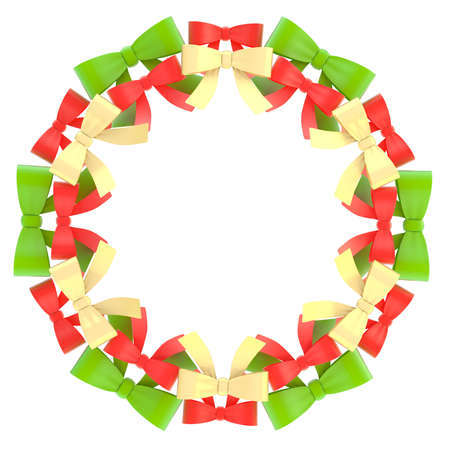 Round empty copyspace christmas frame made of green, red and golden ribbon bows isolated over the white background photo