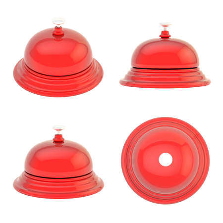 ding: Hotel reception red glossy bell isolated over the white background, set of four foreshortenings Stock Photo