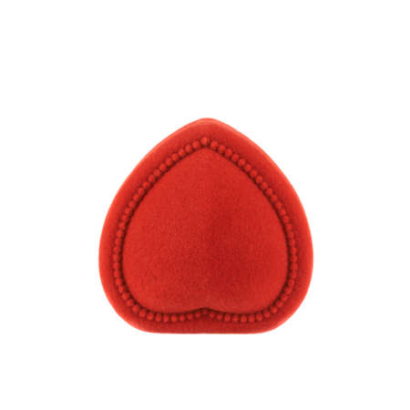 Red, heart shaped velvet box for the ring, closed, isolated over the white background photo