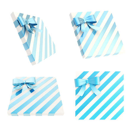 Wrapped white gift box with a blue metallic bow and ribbon isolated over white background, 3d render illustration, set of four foreshortenings illustration