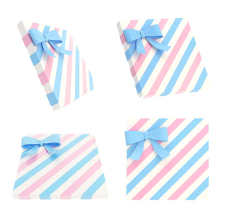 Wrapped white gift box with a pink and blue bow and ribbon isolated over white background, 3d render illustration, set of four foreshortenings illustration