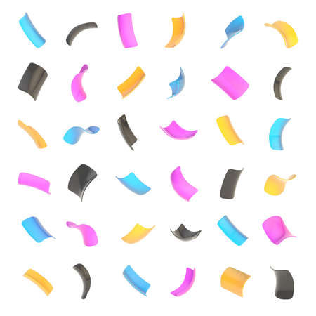 trumpery: Confetti glossy cmyk colored flakes set of sixteen foreshortenings isolated over the white background