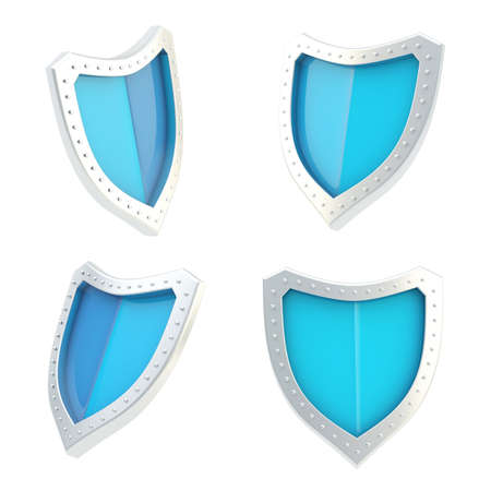 Three-dimensional metal chrome and blue shield symbol isolated over the white background, set of four foreshortenings photo
