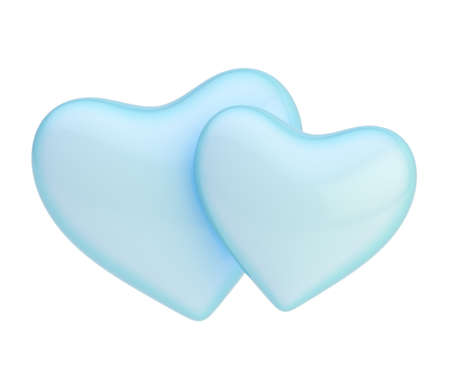 Two blue hearts composition isolated over the white background photo