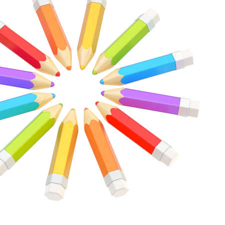 Circle made of colorful glossy pencils isolated over the white background as a copyspace composition photo