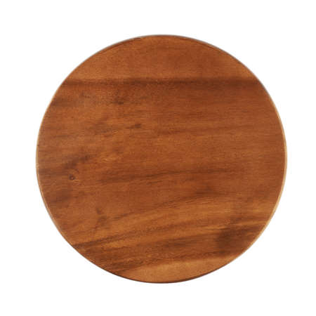 Round wooden tray salver isolated over the white background, above view photo