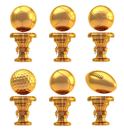 Award basketball, volleyball, football, soccer, tennis and golf sport bronze metal trophy cup set isolated over white background photo