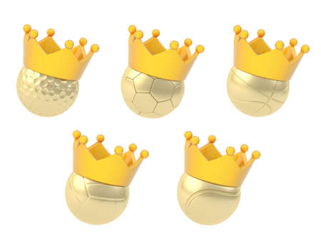Set of five different golden basketball, volleyball, soccer, tennis and golf balls in the orange crown, isolated over the white background photo
