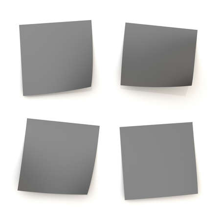 Four bent black sticker paper notes with shadow and reflections over the white surface photo