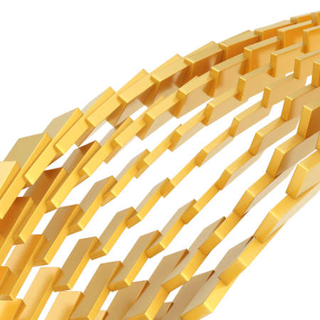 Abstract background composition made of golden blocks over white background photo