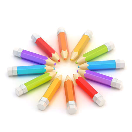 Circle made of colorful glossy pencils lying over the white reflective surface photo