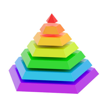 Rainbow colored pyramid divided into seven segments, isolated over the white background