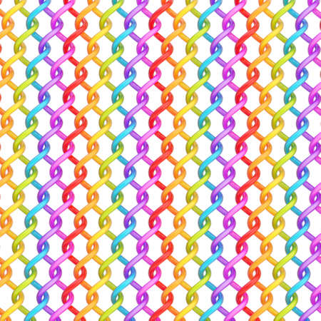detain: Multiple twisted rainbow colored tubes over the white background forming an abstract background composition Stock Photo