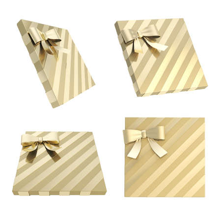 Wrapped golden gift box with a bow and ribbon isolated over white background, 3d render illustration, set of four foreshortenings illustration