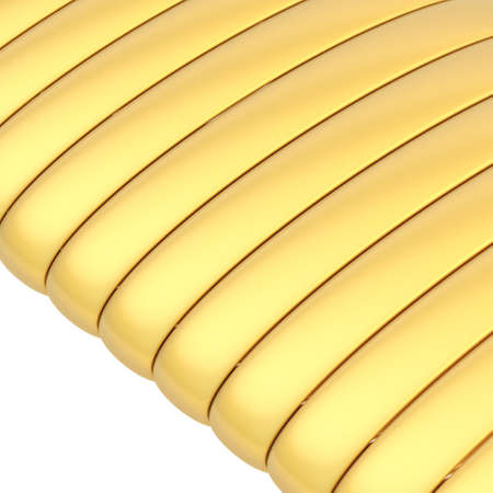 banding: Abstract background composition of glossy golden band strips over the white background Stock Photo