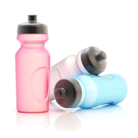 Three, pink, white and blue sport water bottle composition isolated over the white background Stock Photo