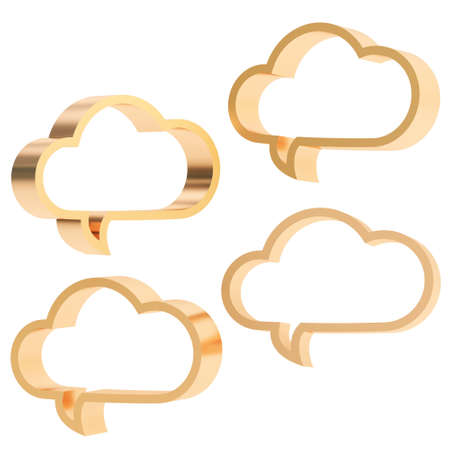 Cloud shaped bronze metal glossy text bubbles isolated over the white background, set of four different foreshortenings photo