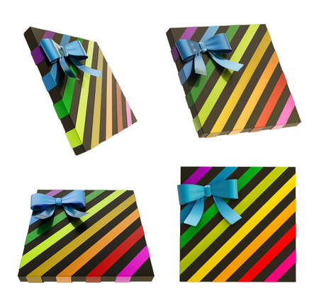 Wrapped black gift box with a rainbow colored metallic bow and ribbon isolated over white background, 3d render illustration, set of four foreshortenings illustration