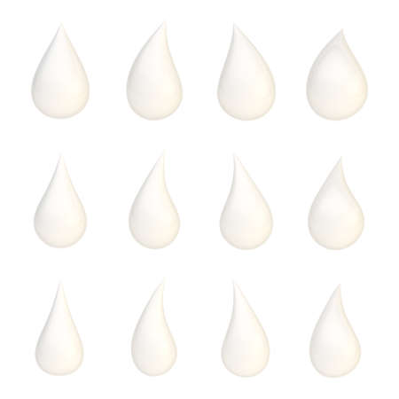 Set of twelve different white liquid drops isolated over the white background photo