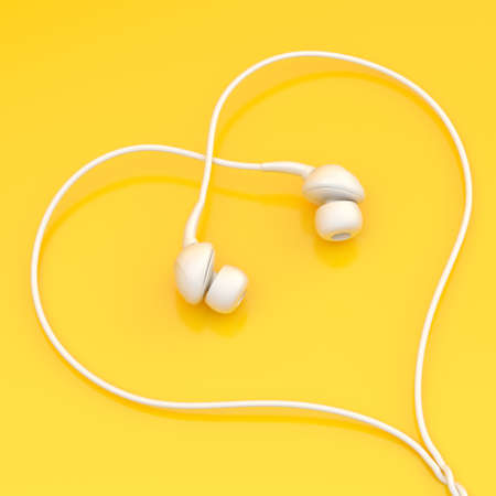 listen ear: In-ear white headphones forming a heart shape over the yellow surface
