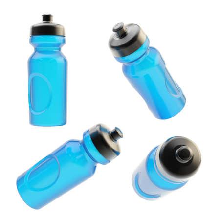 Drinking blue plastic sport bottle, isolated over the white background, set of four foreshortenings photo