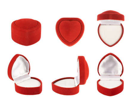 Red, heart shaped velvet box for the ring, isolated over the white background, set of six foreshortenings photo