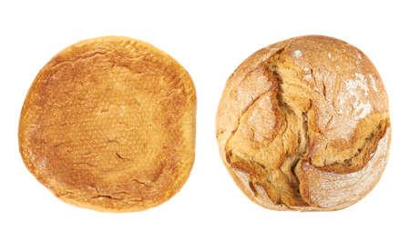 Rond broodje geïsoleerd over de witte achtergrond, set van twee foreshortenings, boven en bovenaanzicht