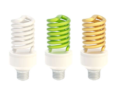 bombillo ahorrador: Bombilla de ahorro de energía aislados sobre el fondo blanco, conjunto de tres colores blanco, verde, oro