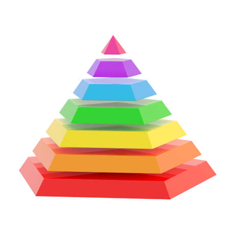 Rainbow colored pyramid divided into seven segments, isolated over the white background photo