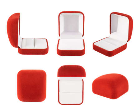 Red velvet box for the ring, isolated over the white background, set of six foreshortenings photo