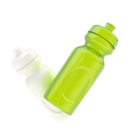 Two drinking plastic sport bottles forming a yes tick mark sign composition isolated over the white background photo